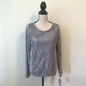 🆕 NY Collection • Grey Floral Lace Sequins Top